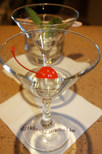 martini glass with cherry