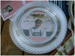 clear plastic plate with photo underneath